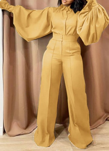 Fall Fashion Yellow Turn Down Collar Wide Long Sleeves Loose Jumpsuit