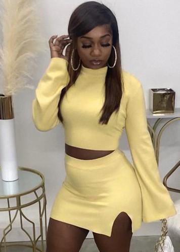 Fall Sexy Yellow Tight Crop Top and Split Mini Skirt Set