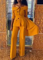 Herbst Elegant Gelb Off Shoulder Unregelmäßige Karriere Blazer Hosen Set