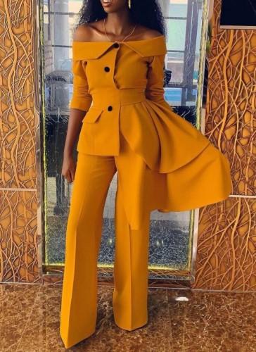 Fall Elegant Yellow off shoulder Irregular Career Blazer Pants Set