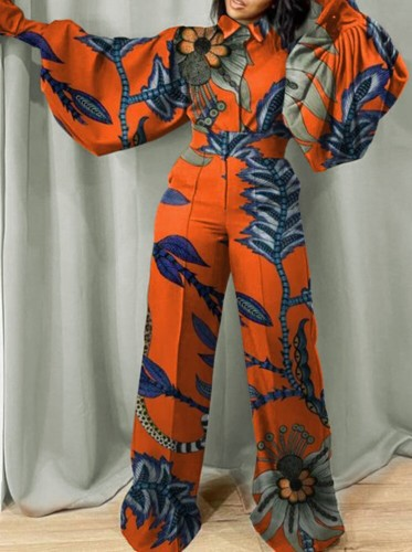 Fall Fashion Print Turn Down Collar Wide Long Sleeves Loose Jumpsuit