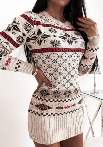 Christmas Sexy Round Neck Long Sleeve Jacquard Sweater Ribbed Dress