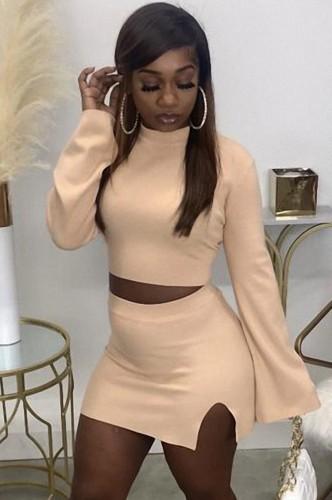 Fall Sexy Light Orange Tight Crop Top and Split Mini Skirt Set