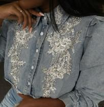 Herbst Trendy Graues Langarm-Jeanshemd mit Perlenapplikationen