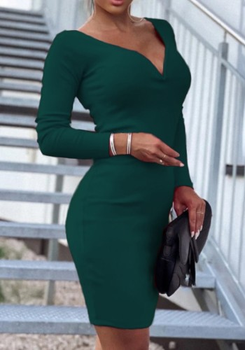 Fall Sexy Green Deep V-Neck Long Sleeve Midi Ress