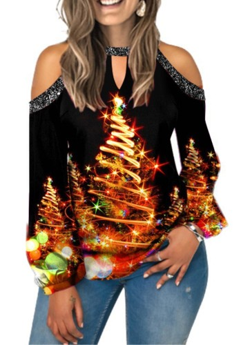 Christmas Sexy Print Hollow Out Sequins Long Sleeve Top