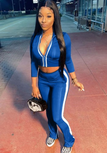 Fall Sexy Blue Contrast Zipper Crop Two Piece Tracksuit