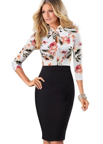 Sonbahar Beyaz Çiçekli Yama Siyah Anahtar Deliği Uzun Kollu Ofis Elbisesi