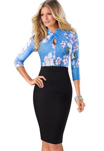 Sonbahar Mavi Çiçekli Yama Siyah Anahtar Deliği Uzun Kollu Ofis Elbisesi