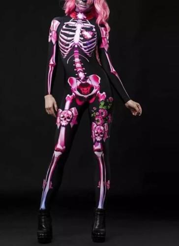 Halloween Skeleton Print Long Sleeve Jumpsuit