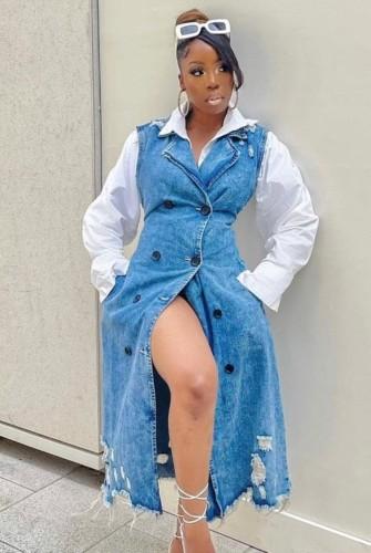Fall Trendy Ripped Button Up Sleeveless Long Denim Dress