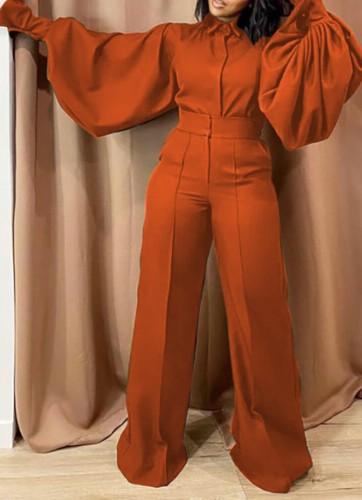 Fall Fashion Orange Turn Down Collar Wide Long Sleeves Loose Jumpsuit