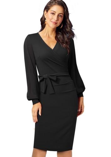 Sonbahar Zarif Siyah V Yaka Puf Kol İnce Kalem Elbise