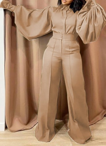 Fall Fashion Kahaki Turn Down Collar Wide Long Sleeves Loose Jumpsuit