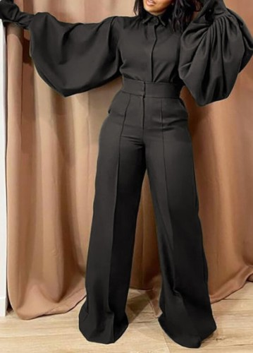 Fall Fashion Balck Turn Down Collar Wide Long Sleeves Loose Jumpsuit