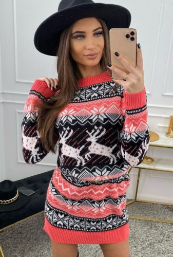 Christmas Sexy Round Neck Long Sleeve Jacquard Sweater Dress