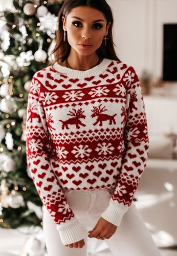 Christmas Red Round Neck Long Sleeve Sweater