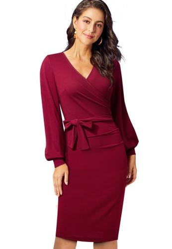Sonbahar Zarif Kırmızı V Yaka Puf Kol İnce Kalem Elbise