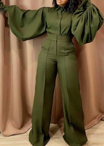 Fall Fashion Green Turn Down Collar Wide Long Sleeves Loose Jumpsuit