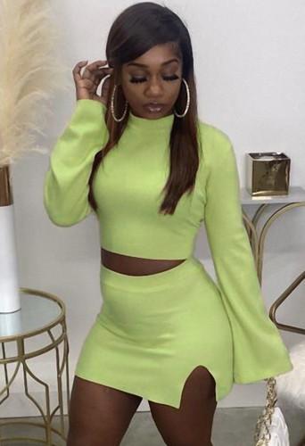 Fall Sexy Green Tight Crop Top and Split Mini Skirt Set