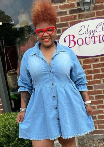 Fall Casual Blue Button Up Loose Denim Dress