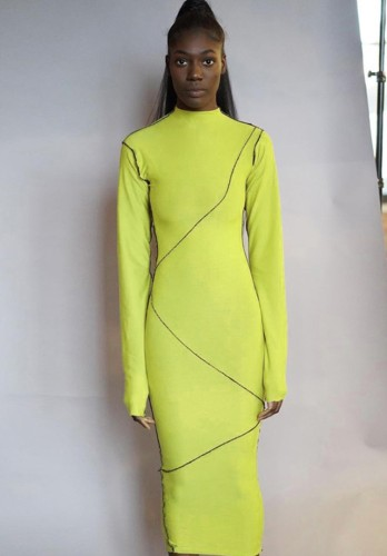 Fall Sexy Yellow Line Design Hollow Out Long Sleeve Long Dress