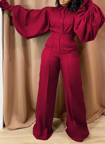 Fall Fashion Red Turn Down Collar Wide Long Sleeves Loose Jumpsuit