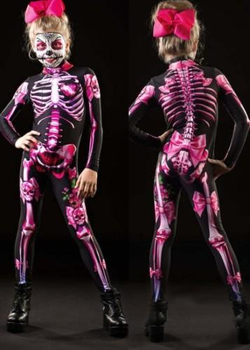 Halloween Children Skeleton Print Long Sleeve Jumpsuit