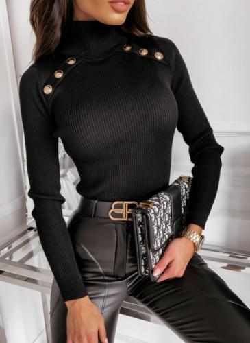 Winter Black High Collar Gloden Button Long Sleeve Swearter