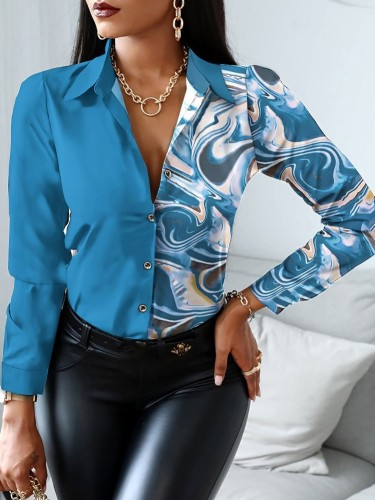 Herfst professionele print Office elegante blouse met lange mouwen