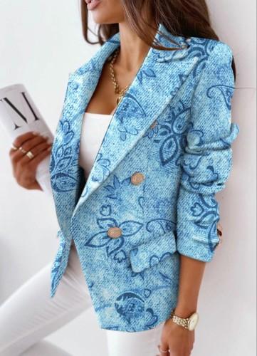 Abrigo de chaqueta de cuello vuelto de punto con estampado floral de invierno