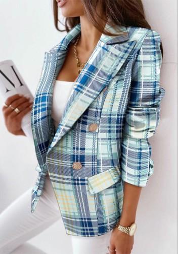 Abrigo de chaqueta de cuello vuelto de punto con estampado de cuadros de invierno