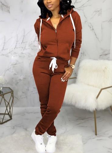 Winter Sportswear Brown Zip Up Hoodie Tracksuit