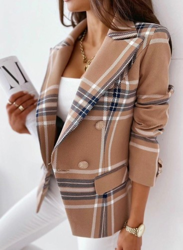 Winter geruite print gebreide blazerjas met omslagkraag