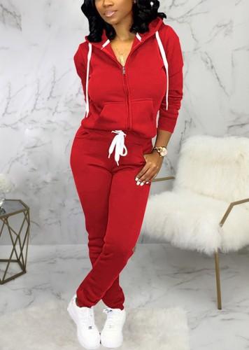 Winter Sportswear Red Zip Up Hoodie Tracksuit