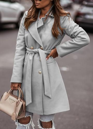 Winter Grey Turndown Collar Elegant Long Coat with Matching Belt