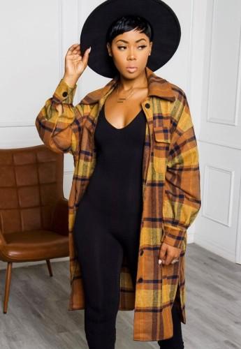 Autumn Plaid Print Side Slit Long Blouse Dress