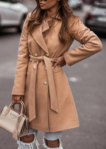 Winter Khaki Turndown Collar Elegant Long Coat with Matching Belt