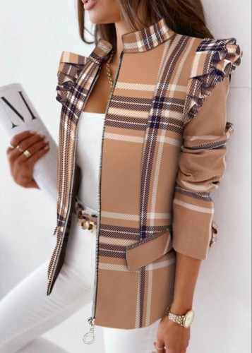 Regular jas met geruite print en rits in de herfst