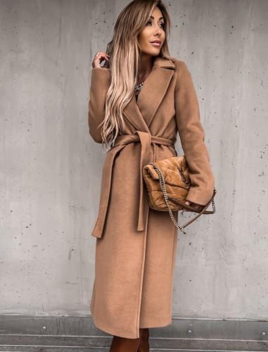 Winter kaki gebreide kraag lange jas met bijpassende riem
