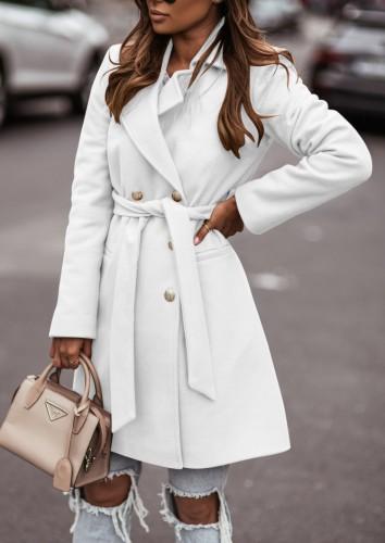 Winter White Turndown Collar Elegant Long Coat with Matching Belt