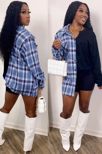 Autumn Plaid Print Long Blouse with Full Sleeves