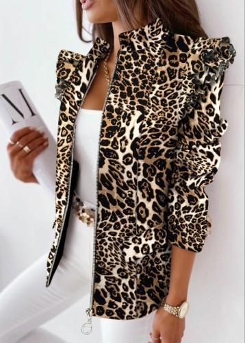 Autumn Leopard Print Zip Up Regular Jacket
