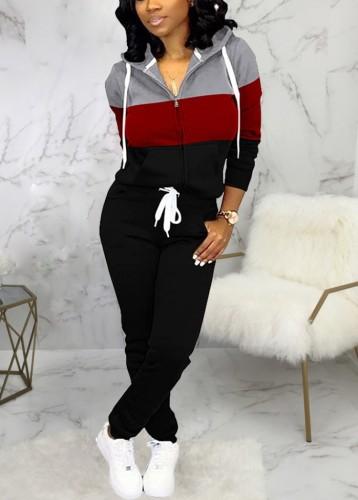 Winter Sportswear Contrast Zip Up Hoodie Tracksuit