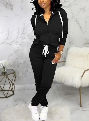 Winter Sportswear Black Zip Up Hoodie Tracksuit