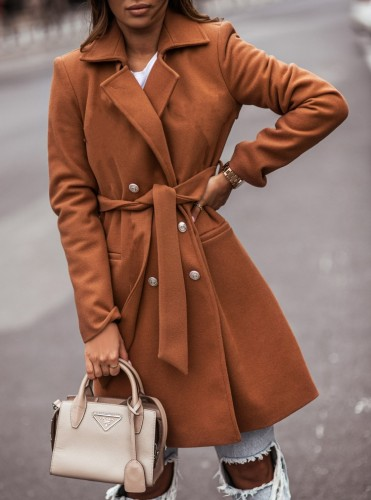Winter Brown Turndown Collar Elegant Long Coat with Matching Belt