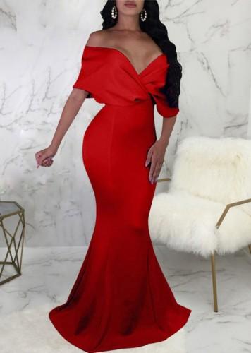 Autumn Red Sweetheart Mermaid Evening Dress