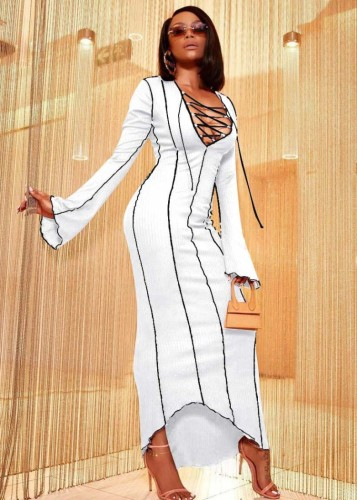 Winter White Knit Sexy Lace-Up Long Party Dress