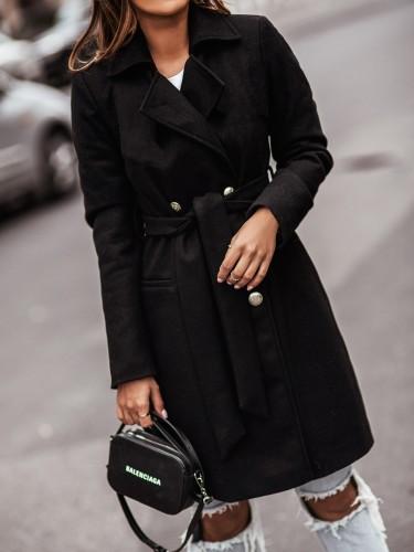 Winter Black Turndown Collar Elegant Long Coat with Matching Belt