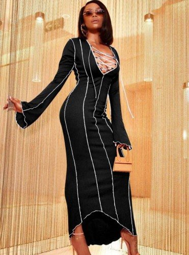 Winter Black Knit Sexy Lace-Up Long Party Dress